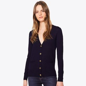 Tory Burch navy cardigan with signature buttons